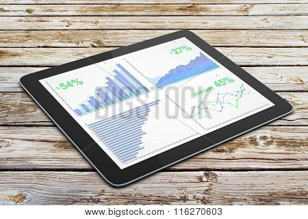 Business Chart On Digital Tablet Screen On Wooden Table