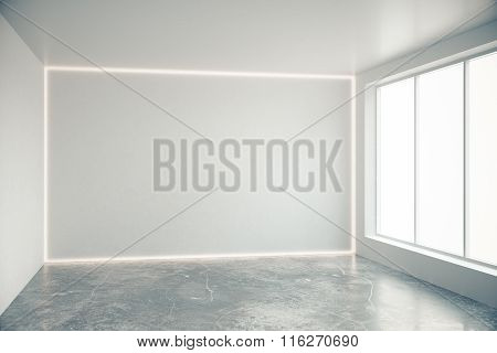 Blank Grey Wall In Empty Room With Big Windows And Concrete Floor