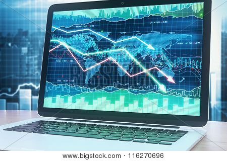 Crisis Graph Illustration On A Laptop Screen