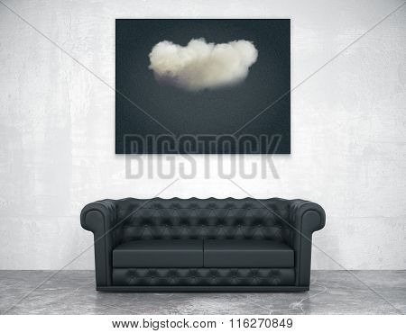 Black Picture With Cloud Above Black Leather Sofa In Empty Room With Concrete Floor