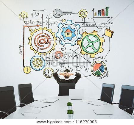 Meeting Room With A Table And A Businessman Sitting In A Chair And Looking At The Wall With The Draw