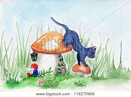 Glade Cat Dwarf And Mushroom Magic Fantasy Landscape