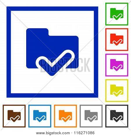 Folder Ok Framed Flat Icons