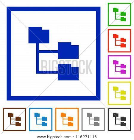 Folder Structure Framed Flat Icons