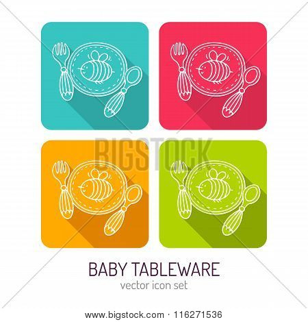 Vector Line Art Baby Tableware Icon Set In Four Color Variations With Long Shadows