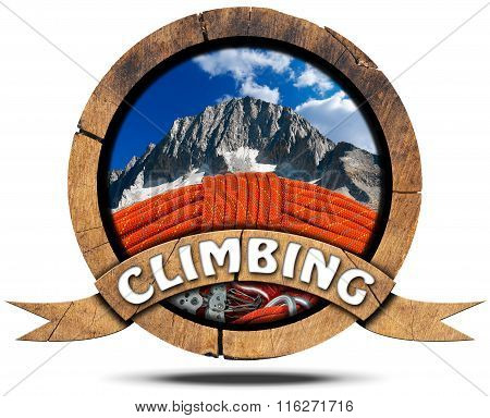 Climbing - Wooden Symbol With Peak