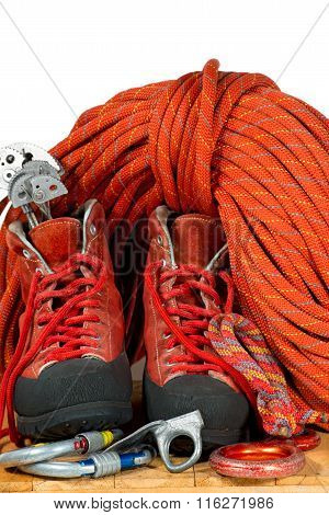 Climbing Equipment On White Background
