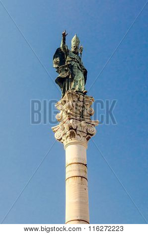 Column Of St Oronzo Statue In Lecce, Salento, Italy