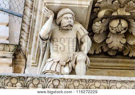 Sculpture At The Church Of The Holy Cross Facade, Lecce