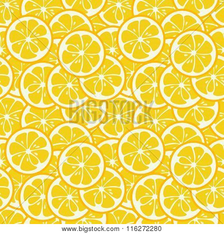 Cute seamless pattern with yellow lemon slices