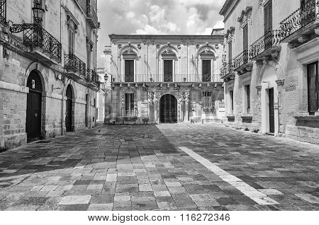 Small Baroque Square In Central Lecce, Salento, Italy