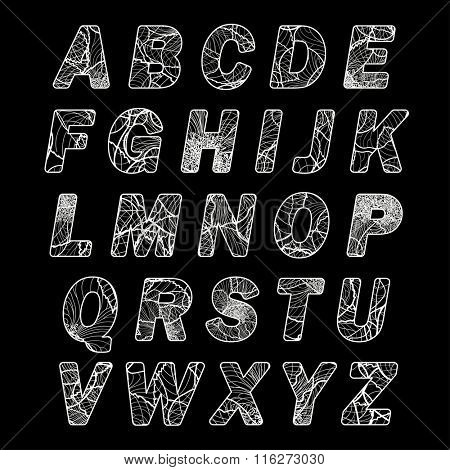 Vector alphabet, letters filled with lines