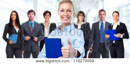 Happy business woman and group of workers.