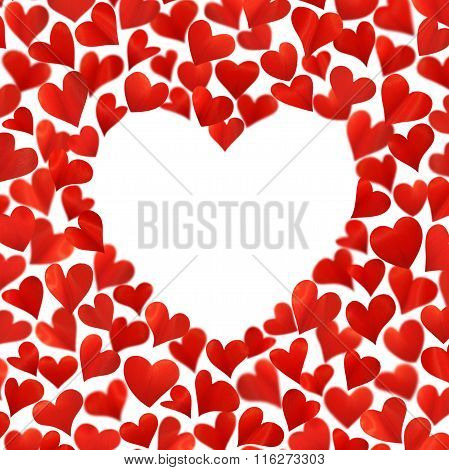 Background with red hearts in 3D empty space for text, isolated on white background, birthday card