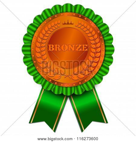 Amazing Bronze Badge With Green Ribbon