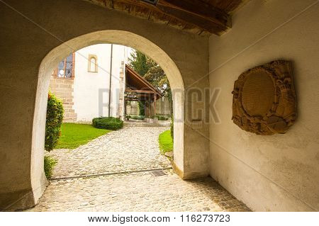 Entrance of Fortified Church Of St Arbogast In The Village Muttenz