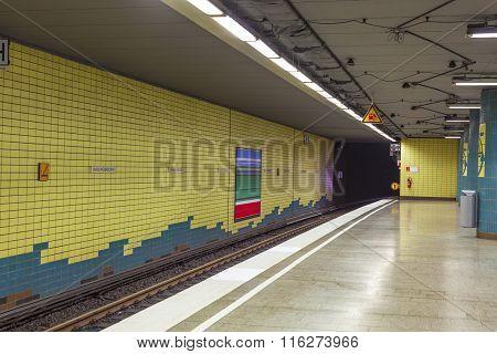 HAMBURG, GERMANY - JUNE 3, 2014: metro station with train in Motion in Hamburg