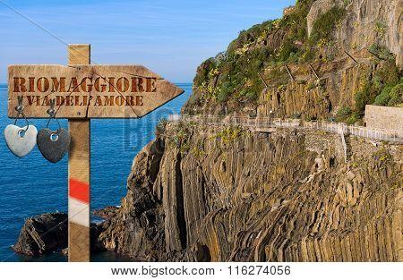 The way of love sign (via dell'amore) in Riomaggiore village cinque terre national park in Liguria Italy. UNESCO heritage site