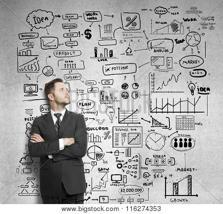 Businessman And Drawing Business Concept
