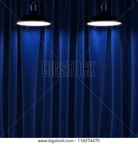 Two Lamps And Black Curtains