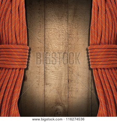 Wooden Background With Climbing Ropes