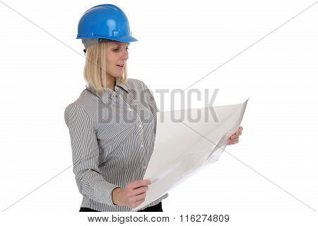 Architect Young Woman Reading Plan Woman Occupation Job Isolated