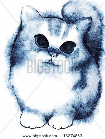 Watercolor Little Navy Blue White Fluffy Cartoon Kitten