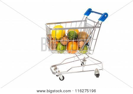 Shopping cart filled with fruits