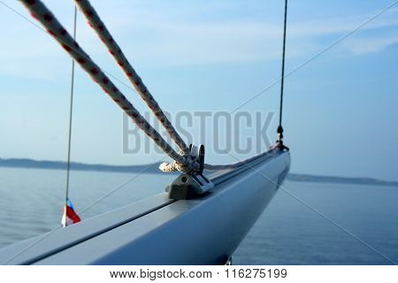 Sailing Boom (spar) On The Yacht With Sea And Horizon In The Background