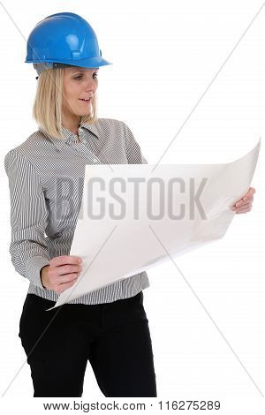 Architect Woman Planning Reading Plan Woman Occupation Job Isolated