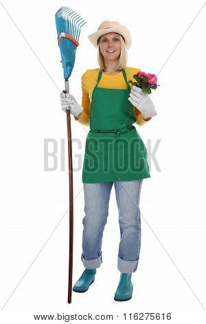 Gardener Gardner Young Woman With Flower Gardening Garden Occupation Full Body Isolated