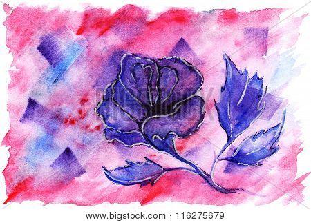 Watercolor Violet Crimson Flower Rose Romantic Love Background
