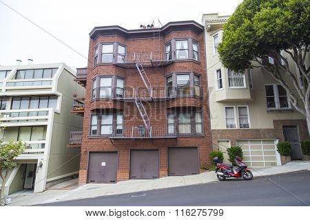 Typical San Francisco Hilly Neighborhood, California, Usa