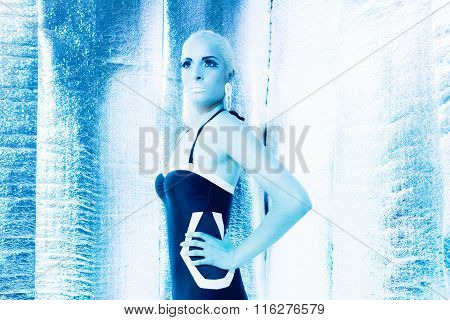 Futuristic Swimwear Girl Standing In Silver Reflective Room.