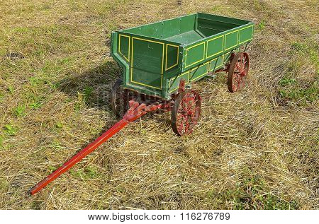 Old green grain wagon