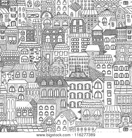 Black And White Sketch Seamless Panorama Of The City.