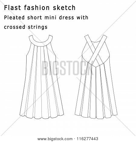 Flat fashion template sketch - Pleated dress with crossed string