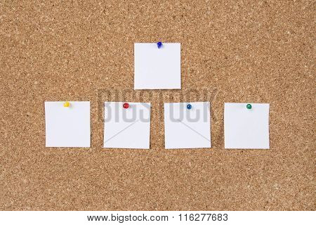 White adhesive papers on cork board