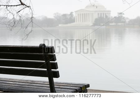 Washington DC in Winter  - Jefferson Memorial in a foggy winter day