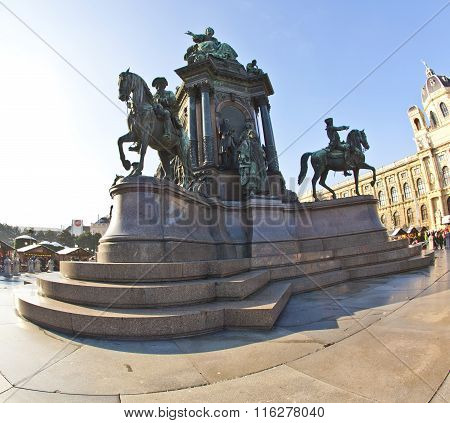 Maria Theresia Monument in Vienna Austria under blue sky