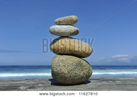 Zen Stones Stacked Blue Sky Copy Space