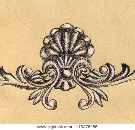 Vintage Retro Stucco Floral Decoration Craft Sketch