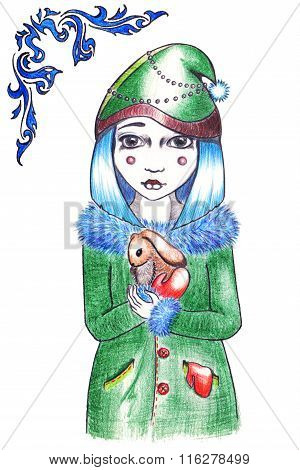 Winter Blue Hairstyle Girl In Hat And Coat With Rabbit