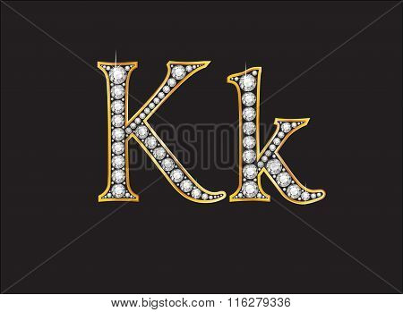 Kk Diamond Jeweled Font With Gold Channels