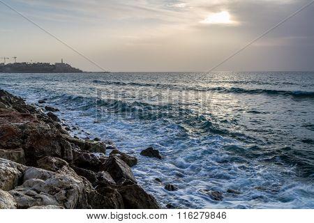 Seascape, Mediterranean Sea In Winter Evening. Tel Aviv