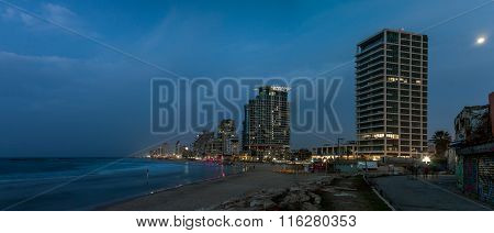 Beach And Hotels In The Winter Evening, Tel Aviv