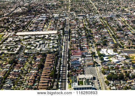 aerial of Los Angeles with streets and houses