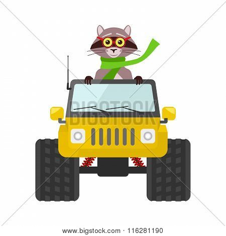 Raccoon Driving A Yellow Suv Toy Car