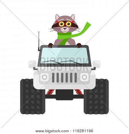Raccoon Driving A White Suv Toy Car