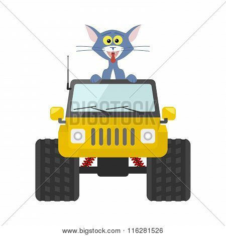 Cat Driving A Yellow Suv Toy Car